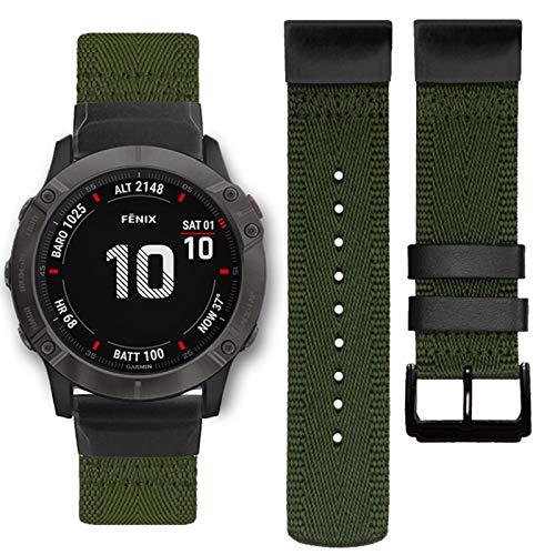 Abanen Nylon Watch Band for Garmin Fenix 6X/Fenix 5X, Quick Easy Fit 26mm Woven Soft Nylon Quick Dry Wristband Strap for Garmin Fenix 6X Pro/Sapphire/Solar,Fenix 5X/5X Plus,Tactix Delta,Fenix3 (Green)
