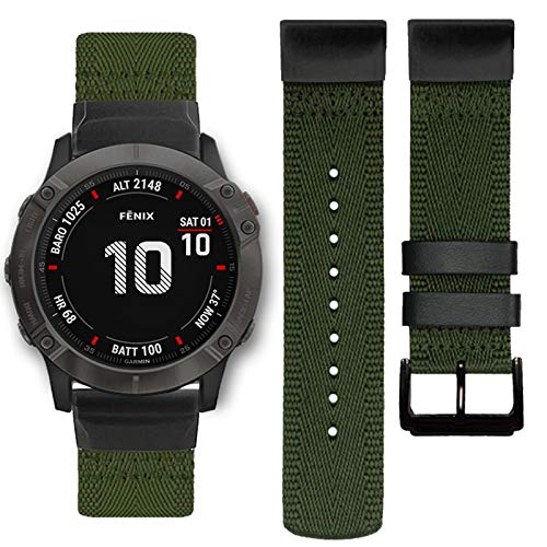 Abanen Nylon Watch Band for Garmin Fenix 6X/Fenix 5X, 26mm QuickFit Woven Soft Nylon Quick Dry Wristband Strap for Garmin Fenix 6X Pro/Sapphire/Solar,Fenix 5X/5X Plus,Tactix Delta,Fenix 3 (Green)
