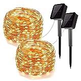 LEDイルミネーションライト ソーラー ストリングスライト 100電球 10m 電飾 8種光るパターン IP65防水 飾りライト クリスマス・ツリー パーティー フェアリーライト 装飾 結婚式 誕生日 室内 室外 ガーデンライト (ウォームホワイト2pcs 10m)