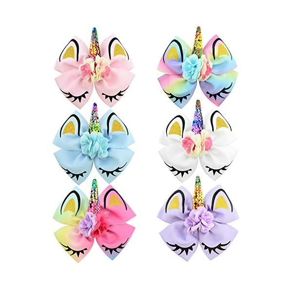 Girls Unicorn Hair Bows with Alligator Hair Clips Cheer Bows Hair Accessories for Kids Toddlers 6 Packs 4