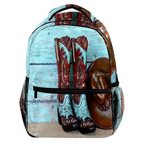 Botas de vaquero y gorra de impresión a color, mochila de moda,...