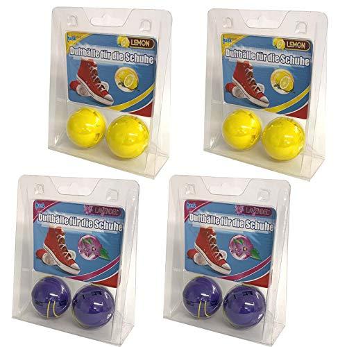 4er Set Schuh Deo Duftball Geruchsstopp | Schuhdeo Schuhdesinfektion Lavendel Zitone | Schuhpflege Sportschuhe Reiniger