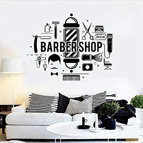 Friseur-Logo Aufkleber Barbiere Friseur Aufkleber Vitrine Tapete Art Deco 42 x 55 cm