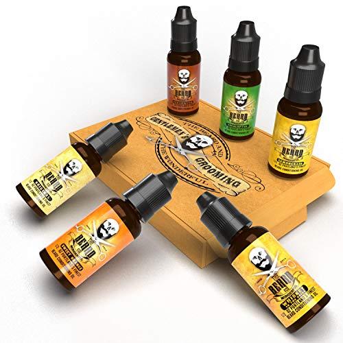 Beard Ultimate Oil Collection 6 bouteilles de conditionneur d'huile Premium Growth - bois de cèdre, whisky sur les rochers, orange douce, eucalyptus, citronnelle et senteurs originales