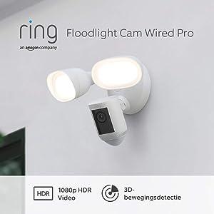 Maak kennis met Ring Floodlight Cam Wired Pro van Amazon, 1080p HDR-video, 3D-bewegingsdetectie, installatie via vaste bedrading, gratis proefperiode van 30 dagen voor het Ring Protect Plan | Wit