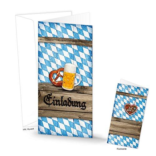 5 Stück bayerisch blau-weiß kariert EINLADUNG Klapp-karte Oktoberfest Einladungskarte BAYERN Hochzeit Geburtstag Bierfest Firmen Kunden MIT KUVERT DIN lang