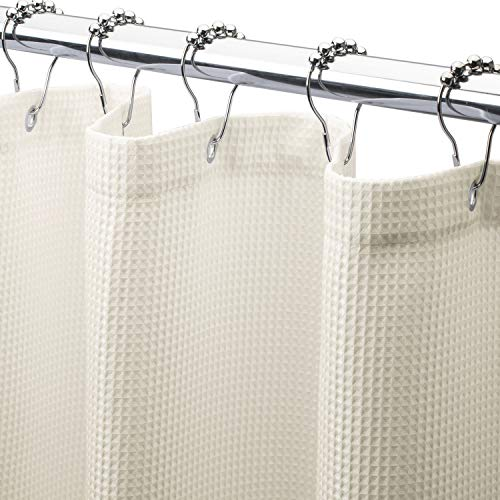 AmazerBath Waffle Shower Curtain, Heavy Duty Fabric Shower...