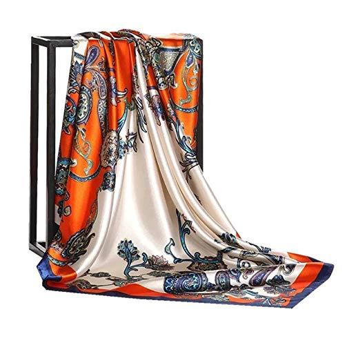 CQHUI Bufandas de Seda Mujeres 90 * 90 cm Cabeza Cuadrada Bufanda de la Cabeza de Las señoras Shafl Wrap Wrapler Pareo Bandanna Femenina Estilo de Gasa 2 (Color : 09, Size : 90X90cm)
