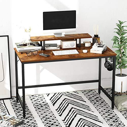 HOMEYFINE Scrivania per Computer,Tavolo per Laptop con Portaoggetti per Controllore,Legno e Metallo,Tavolo per Studio,120 x 60 x 73 cm (Finitura della Quercia Vintage)