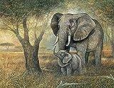 Kreuzstich Stickpackung,Mutter und Baby-Elefant11CT Stickbild Stickvorlage Vorgedruckt Stickset für...
