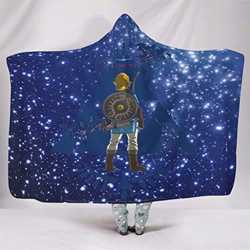 XHJQ88 Fledermausdecke Zelda-Blue Muster Print Mikrofaser super gemütliche Überwürfe Bademantel - Gamer Love groß für Damen und Herren, Fleece, weiß, 203x139cm