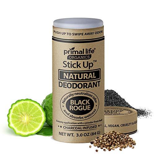 Stick Up Natural Deodorant for Women and Men with Bentonite Clay Powder, Arrowroot, Magnesium, Zinc, 3 oz. Vegan Deodorant for 3-4 months, Black Rogue - Primal Life Organics