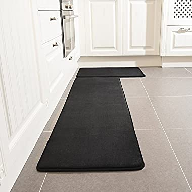 Kitchen Rug Set, LEEVAN Memory Foam Kitchen Comfort Mat Super Soft Rug Microfiber Flannel Area Runner Rugs Non-slip Backing Washable Bathroom Rug Set of 2 Pcs (19''x31''+19''x63'', Black)