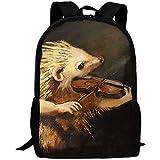 Backpack,Lovely Hedgehog Toca El Violín Mochilas Cómodas para Escalar Senderismo 43x28x16cm