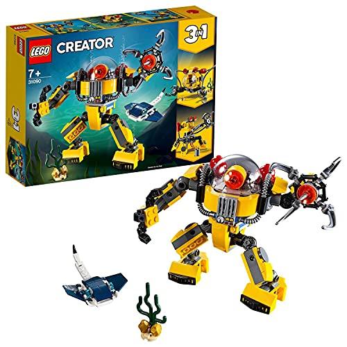 LEGO31090Creator3en1RobotSubmarinooSubmarinooCentrodeBúsquedadeTesoros,JuguetedeConstrucciónparaNiños+7años