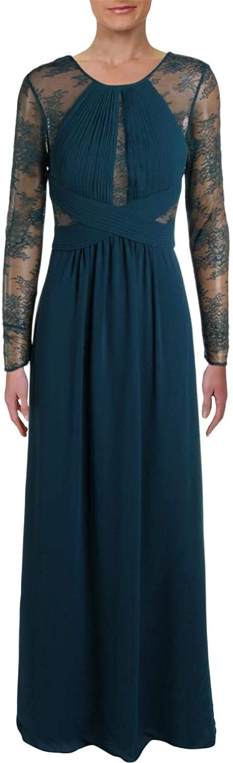 BCBG Max Azria Womens Janette Formal Lace Evening Dress