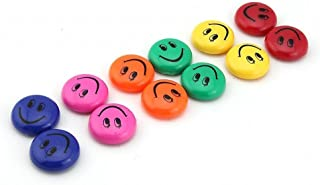 CraftDev Round Cartoon Emoji Smiley Face Fridge Magnet (Multicolour, 3cm Dia)