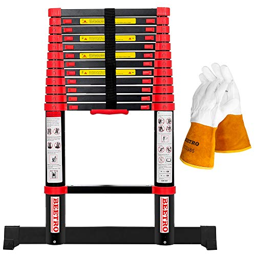 BEETRO 12.5ft Aluminum Telescoping Ladder with Gloves, Extension Folding Ladder, for Roofing Business, Outdoor Working and More, 330lbs Max Capacity, More Durable and Safer with Balance Rod