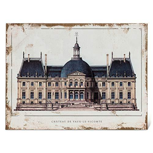 Abbott Collection 27-CHATEAU-126-LG Vaux-le-Viconte - Cuadro decorativo para pared (tamaño grande, 81 x 60 cm), color marfil