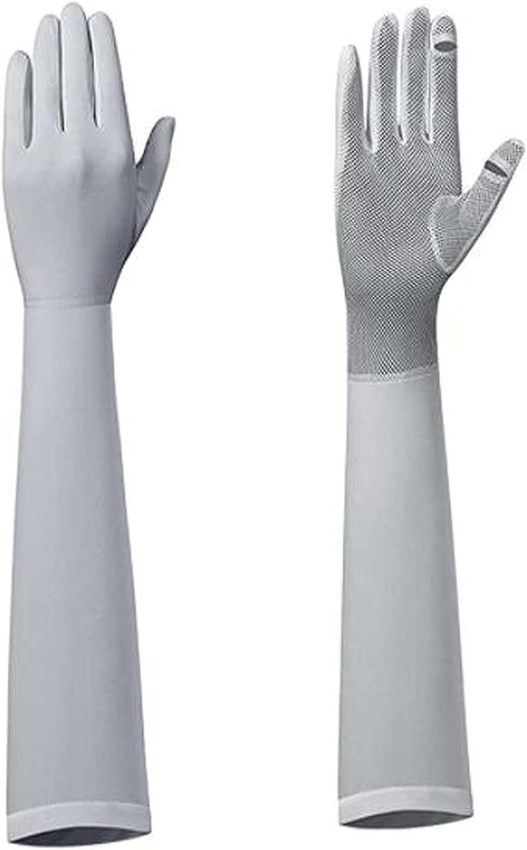 JHWSX Women Summer Sunblock Gloves, UV Protection Non-Slip Touchscreen Driving Gloves Mesh Palm Long Gloves Touchscreen Gloves (Color : Gray1)