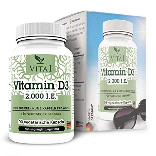 VITA1 Vitamin D3 2000 I.E. • 90 Kapseln (11 Monate Vorrat) • Wochendepot - nur 1-2 Kapseln pro Woche • Hergestellt in Deutschland