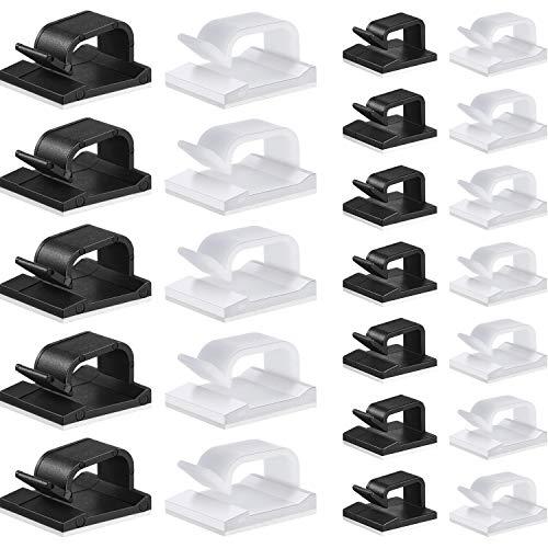 120 Stücke Kabelclips 2 Größen Kleber Kabelhalter Autokabel Organizer Kabel Management Clip Multifunktionaler Kabelhalter Schwarz Weiß Kabelclip Drahtklemme für Auto Büro und Haus
