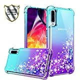 Galaxy A50 Case, Galaxy A50 Phone Case with HD Screen Protector for Girls Women, Gritup Cute Clear Gradient Glitter Liquid TPU Slim Phone Case for Samsung Galaxy A50 Teal/Purple