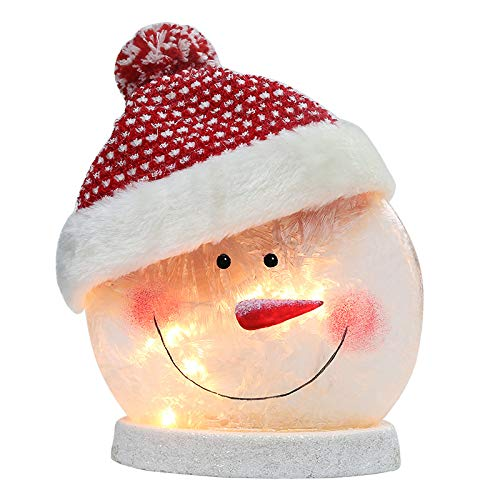 BOSQUEEN Lighted Snowman Christmas Lamp, Crystal Glass Snowballs Night Light with Santa Claus Hat for Thanksgiving Christmas Holidays Home décor & Ideal Gifts(Red)
