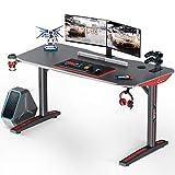 MOTPK Gaming Desk, 60' T Shaped Computer Gaming Desk, Gamer Tables Pro Carbon Coated, with Cup Holder Headphone Hook, Black