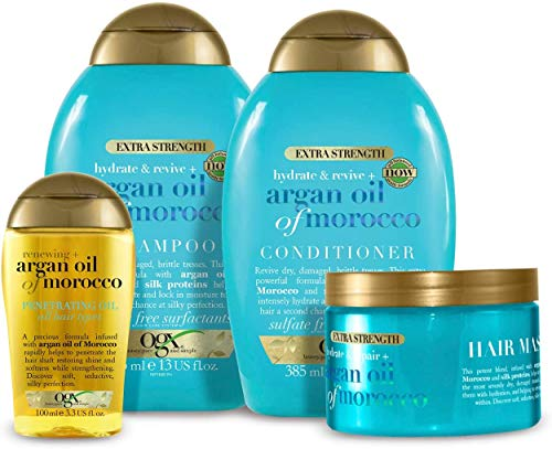 OGX Extra Strength Argan Oil of Morocco 4er-Set mit Shampoo, Conditioner, Haarmaske und Haaröl