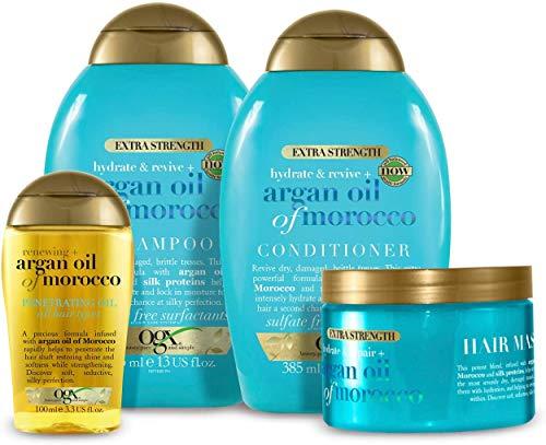 OGX Extra Strength Argan Oil of Morocco 4er-Set mit Shampoo, Conditioner, Haarmaske und Haaröl