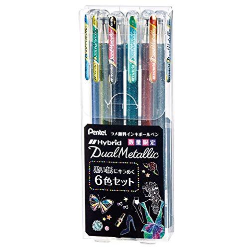 ぺんてる ラメボールペン Dual Metallic K110-6STB 黒い紙にキラめく6色セット