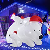 Fashionlite 6ft Christmas Inflatable White Polar Bear with 3 Cubs in Santa Hat Yard Decorations, LED Lights Blow Up Inflatables for Easter Xmas Indoor Outdoor Home Garden Family Prop Lawn Decoration