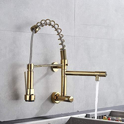 YZDD Grifo Montura de pared Grifo de cocina dorado Grifo de mano Grifo de agua fría Grifo de cocina Grifo doble Baño Grifo de cocina