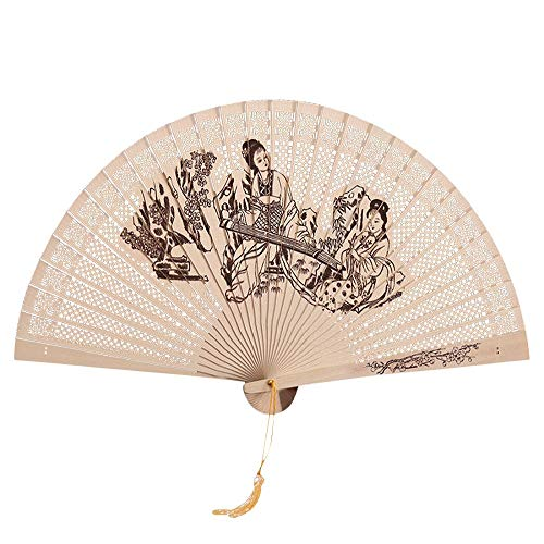 Faltbarer Handfächer Holz Geschnitzten Bambus Handheld Faltfächer Vintage Hand Fan Chinesisch Klapperfächer Wanddekoration Sommer Party Hochzeit Faltfächer D