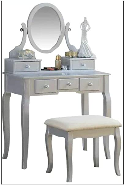 BS Vintage Dressing Table Mirror Makeup Hairdressing 5 Drawers Adjustable Foldind Mirror Stool Silver Cushioned Wood Desk Perfect Bedroom Decor Storage Beauty Oval EBook By BADA Shop