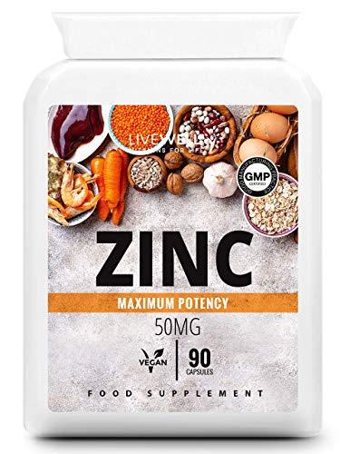 Zinc Capsules 50mg   90 Easy to Swallow, Vegan, Zinc Gluconate Capsules   Made in The UK (90 Capsules)