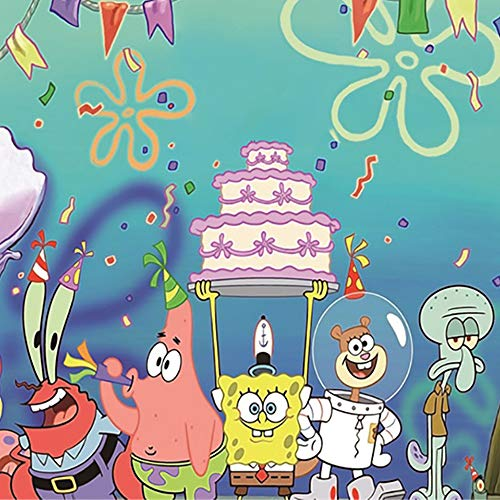 Nidezon Cartoon Spongebob Backdrop 5 Feet 3 Feet Wall Decro Birthday Party Decorations Photography Banner