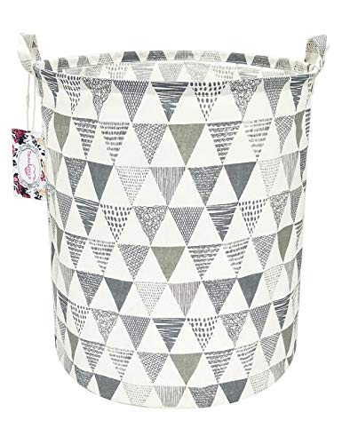 TIBAOLOVER 197quot Large Sized Waterproof Foldable Canvas Laundry Hamper Bucket with Handles for Storage BinKids RoomHome OrganizerNursery StorageBaby HamperTriangle PatternGrey