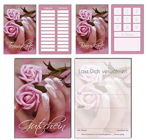 150 Teile Set SPARPREIS - je 50 Bonuskarten, Terminkarten, Gutscheine Rose Pink Nails Nagelstudio