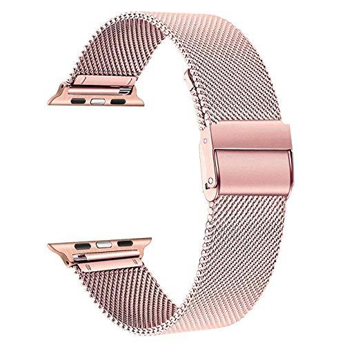 TRUMiRR Reemplazo para Apple Watch 42mm 44mm Correa de Reloj, Correa de Reloj de Acero Inoxidable Negro Correa de Metal Tejido de Malla para iWatch Apple Watch SE Series 6, 5, Series 4, Series 3 2 1