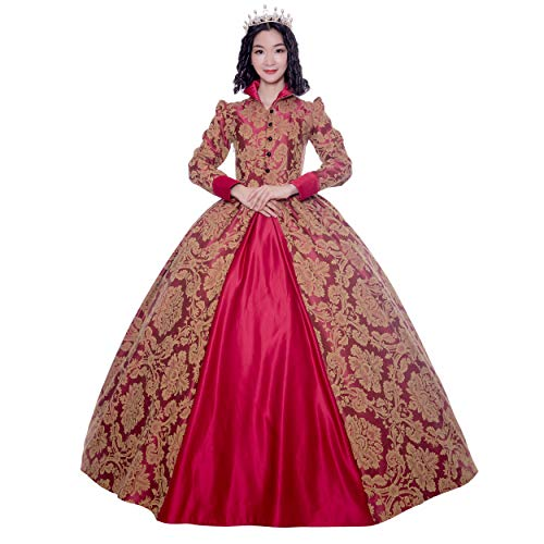 Renaissance Queen Elizabeth I/Tudor Gothic Jacquard Fantasy Dress Game of Thrones Gown Halloween Costumes (XL, Red)