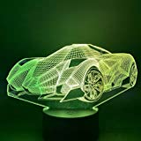 Múltiples colores 3D luz nocturna niño regalo coche deportivo adornos luz nocturna USB 3D sensor táctil LED niños luz nocturna