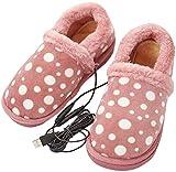 XIAOWANG El pie se calienta más Caliente, USB Zapatillas calentados eléctricamente - Zapatos Calientes de Invierno con calefacción para el frío, cómodas Zapatillas de Felpa Suave,A,40 41