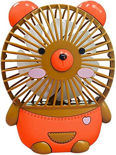 DLRBDMM Ventilador de Cuello portátil de Dibujos Animados Lindo del Oso, Ventilador de refrigeración de la Mesa de Escritorio USB Tranquilo, Ventilador Personal de Mini habitación para la Oficina del