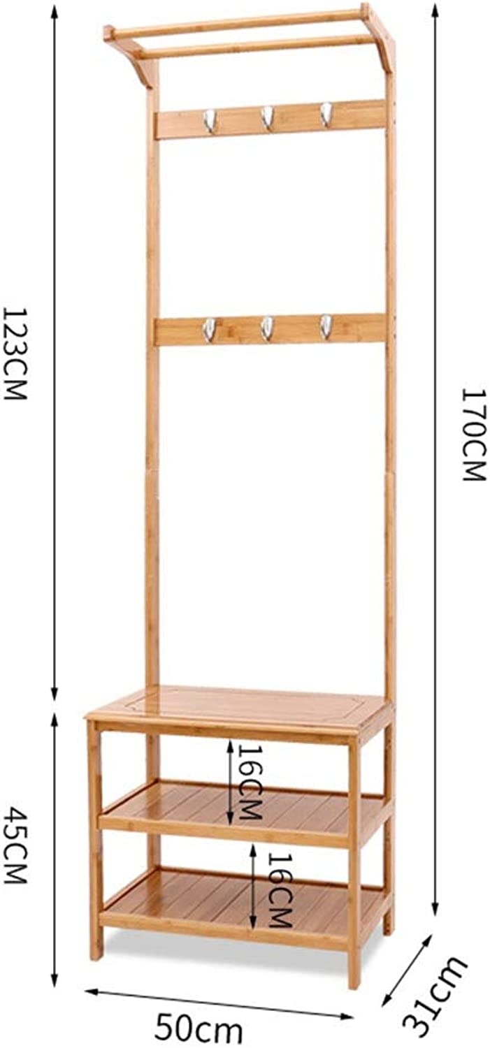 JIAYING Coat Rack,Bench shoes Rack,Hallway Hall Tree Organizer 2 Tiers Shelves Storage Rack Entryway for Living Room, Bedroom (Size   50×31×170CM)