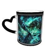 Oaieltj Tazas cambiantes de calor divertidas Trippy Galaxy Space personalizado sensible al calor cambiante mágico taza de café de cerámica taza de té de leche
