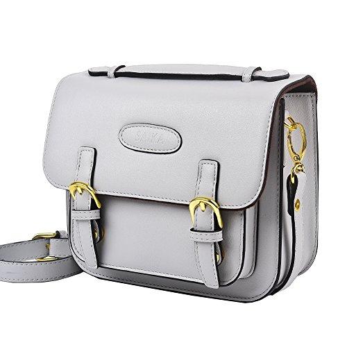 SAIKA Retro Vintage PU Leder Schultertasche Tasche Kompatibel mit Polaroid Fujifilm Instax Mini 9 / Mini 8 / Mini 26 / Mini 90 / Instant Film Kamera und mehr - Rauchiges Weiß