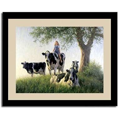 Girls Club Girl Riding Cow Robert Duncan Framed Print
