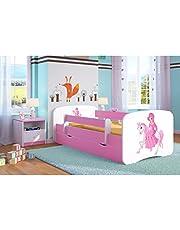 Cama infantil 80x160 Cama para Niños rosa con barrera de protección contra caídas Cajones extraíbles y base de listones - para niñas - 160 x 80 cm Princesa en el pony